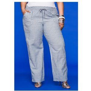 Ashley Stewart Drawstring Linen Pants